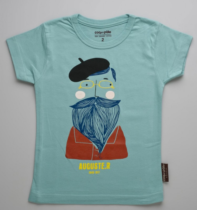 T shirt Rodin for Children (Blue-Green color)