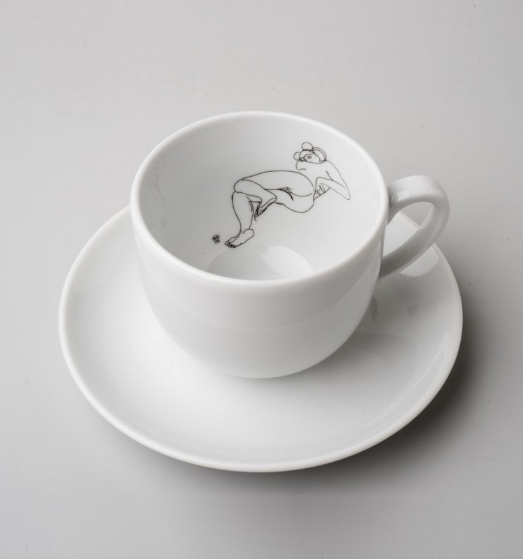Cup and saucer with Rodin's drawing
