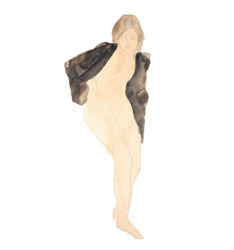 Femme nue assise, un vêtement sur les épaules (D.5189)
