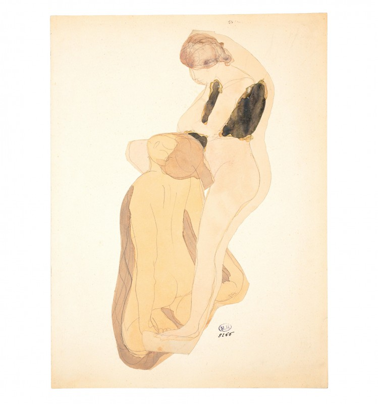 Naked woman leaning over kneeling woman, back view (D. 5266)