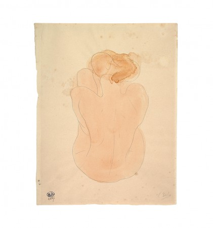 Seated nude woman with back...
